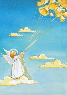 Martta Wendelin Retro Christmas, Vintage Christmas Cards, Christmas Angels, Christmas Art, Christmas Illustration, Illustration Art, Vintage Prints, Vintage Art, Vintage Wrapping Paper