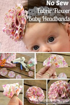Baby headbands really are a must for your own personal lovely baby girl. Makes special hair piece models for baby, baby, and toddler. Easy no sew Fabric Flower Baby Headbands Easy to make Fabric Flower Baby - new sew - DIY - craft - ribbon - bow - clips - Fabric Flower Headbands, Diy Baby Headbands, Diy Hair Bows, Diy Headband, Ribbon Flower, Headband Pattern, Ribbon Hair, Baby Headband Tutorial, Headband Flowers