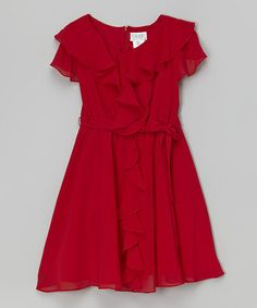 Another great find on #zulily! Red Ruffle Dress by Blush by Us Angels #zulilyfinds