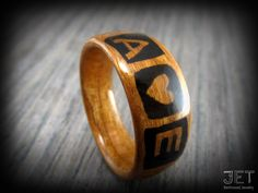 Personalized Cherry Bentwood Ring with Hand by JETbentwoodjewelry
