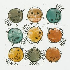 Doodle birds linocut - Folksy