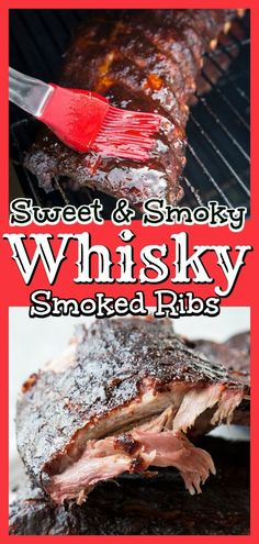 These Sweet and Smoky Whisky Smoked Ribs will have your mouth watering and your . - These Sweet and Smoky Whisky Smoked Ribs will have your mouth watering and your taste buds clamorin - Smoker Ribs, Ribs On Grill, How To Grill Steak, Bbq Ribs, Grilling Ribs, Traeger Smoker, Traeger Grills, Bbq Beef, Pellet Grill Recipes