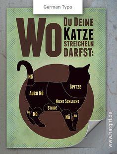 """Vintage Poster """"Wo Du Deine Katze streicheln darf"""" von Hatgirl Design auf DaWanda.com"""