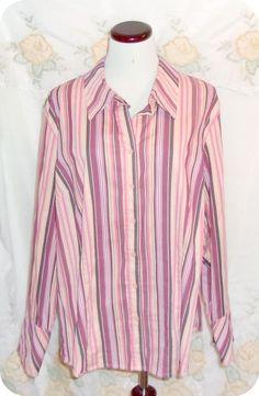 Lane Bryant Womens Top Plus Size 18/20 Burgundy Peach Stripe Long Sleeve Cotton #LaneBryant #ButtonDownShirt #CasualCareer #Ebay #Fashion #Clothing #Womens #Plussize #Top #Freeshipping