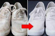 Zapatos blancos como unas zapatillas de deporte o zapatillas de tenis blancas se ven muy bien, pero mantenerlos limpios puede ser un desafío. Pero con este truco genial podrás dejar los zapatos blancos sucios como nuevos una vez más con facilidad.    Lo que necesita: + bicarbonato sódico, + ag