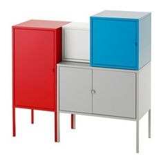 IKEA - LIXHULT, Storage combination, gray/white/orange/red, , A colorful and…