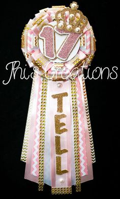 Tell's 17th birthday pin/mum/corsage in light pink, white, chevron, and gold #JhisCreations