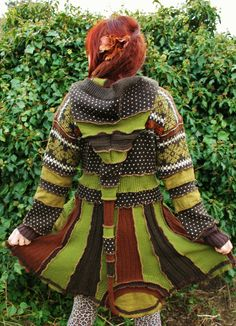 WINTER SALE nordic elf pixie gypsy hippie bohemian coat cloak in moss olive green and rust brown upcycled norwegian nittet wool sweaters. €280.00, via Etsy.