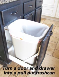 Turn a drawer and a door into a pullout trash can.  Step by step tutorial.