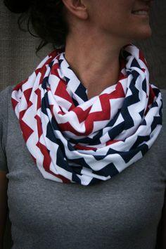 Infinity Scarf // Navy/Red Chevron Jersey Knit // Team USA/Red Sox/Braves/New England Patriots/Ole Miss