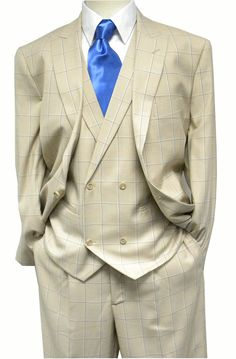 Steven Land Mens Tan Blue Plaid DB Vest Suit Walter SL77-042
