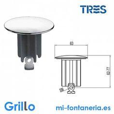 Tapón Desagüe Aut. Tres D. 63 mm - Grillo - mifontaneria.es