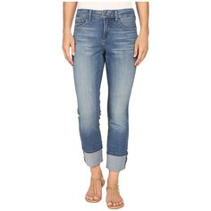 NYDJ Lorena Boyfriend in Istanbul (Istanbul) Women's Jeans ($134) ❤ liked on Polyvore featuring jeans, cuffed boyfriend jeans, nydj boyfriend jeans, slim fit boyfriend jeans, slim fit straight leg jeans and frayed jeans