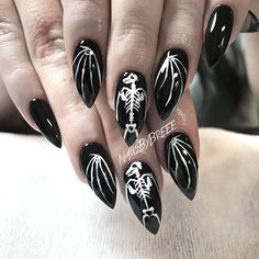 So cute! Bat skeleton nails . Hand painted by @nailsbybreee - - - #nail #nails #instanails #claws #bat #batskeleton #skeleton #skeletonnails #halloween #halloweennails #spookynails #gothic #gothicnails #occult #occultnails #blacknails #halloweek #inspo #nailinspo #nailstagram #nailporn #nailart #naildesign #naillove