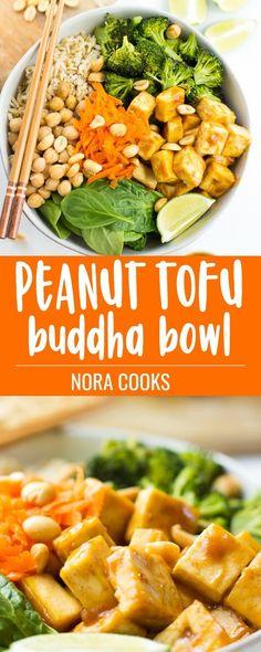 This Peanut Tofu Buddha Bowl stars simple roasted broccoli, baked chewy tofu and the best Peanut sauce!  #vegan #plantbased