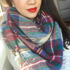 StylishPetite.com | Mac ruby woo red lipstick, plaid blanket scarf, cable knit sweater, petite fashion, pearl stud earrings, fall outfit, cold outfits, winter outfits, sweater dress