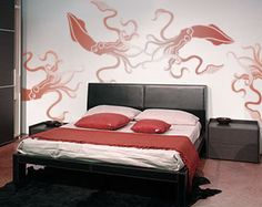 Wall Stencil Reusable - GIANT SQUID - DIY Home Decor - Great for kids' rooms.