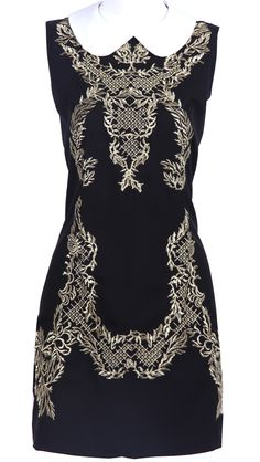 Black Contrast Collar Sleeveless Embroidery Dress