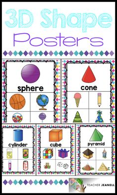 This colorful poster pack is a great way to introduce and reinforce shapes. Kindergarten Anchor Charts, Kindergarten Math Activities, Preschool Math, Math Classroom, 3d Shapes Kindergarten, 2d And 3d Shapes, Shapes For Kids, Math For Kids, Fun Math