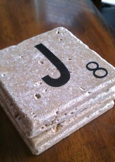 How to make Scrabble coasters... Maybe with their last name?