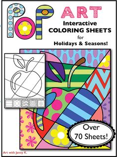 "This product is a big collection of my popular ""Pop Art"" interactive coloring sheets. It contains over 70 coloring sheets designed for every season and every major holiday! From Back to School through July 4th, winter, spring, summer, and fall and everything in between!"