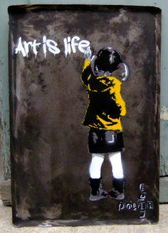 "Saatchi Online Artist PolarBear Stencils; Street Art, ""Kid writes on wall"" #art"