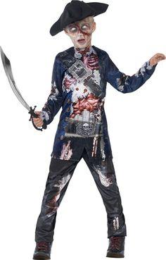 Déguisement zombie pirate garçon Halloween : Ce déguisement de zombie pirate pour enfant se compose d'une tunique, d'un pantalon et d'un chapeau (sabre, lentilles et chaussures non inclus).La tunique bleue nuit a des manches...