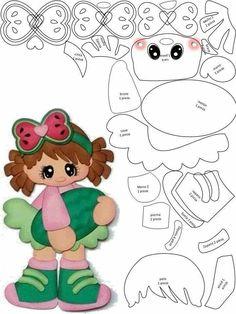 Teacher Tati Simões: Dolls eva and scrap with molds for decoration diverse Scrapbook Patterns, Scrapbook Embellishments, Paper Piecing Patterns, Doll Patterns, Felt Dolls, Paper Dolls, Disney Scrapbook, Foam Crafts, Punch Art