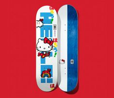 Girl Skateboard and Hello Kitty have joined forces again to celebrate Hello Kitty's Anniversary! This special, limited edition skateboard deck features Hello Kitty and pro skater Andrew Brophy in a cool retro design. Skateboard Design, Skateboard Girl, Skateboard Decks, Skateboard Companies, Dangerous Sports, Hello Kitty Characters, Skate Decks, Skateboards, Girls Shopping
