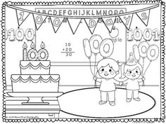 This freebie includes one coloring sheet with a day celebration theme plus 2 printables that work with counting and coloring by ones to 100 and by twos to 100 Days Of School, School Holidays, School Fun, School Ideas, Kindergarten Freebies, Kindergarten Activities, Preschool, Color Activities, Holiday Activities