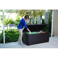 Outdoor Storage Benches - Top Rated Poly Resin Plastic Water Resistant Dark Mocha Brown 135Gallon Storage Cargo Bench Seat Container Elegant Rattan Finish 57 Girth Deep Cargo Bay Perfect Organizer For Indoors Or Outdoors *** Check this awesome product by going to the link at the image. (This is an Amazon affiliate link)