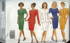 Butterick+Sewing+Pattern+3362+Misses+Size+12-16+Easy+Short+Sleeve+Straight+Dress+Button+Front+Jacket