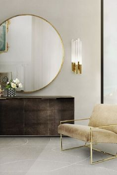 LUXXU's Burj wall lamp | Visit www.contemporarylighting.eu for more inspiring images and decor inspiration Large Mirror Living Room, Living Room Decor Gold, Brown And Gold Living Room, Big Mirror In Bedroom, Bedroom Mirrors, Lux Bedroom, Asian Bedroom, Gold Home Decor, Handmade Home Decor