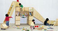 Casaurus dinosaur-themed bookshelf / playground by student designer Koichiro Hoshino (Tokyo University of the Arts), creative kids stuff