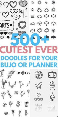 Simple easy DOODLES you will love to DIY in your notebook or bullet journal Cute ideas from heart flower animals patterns Christmas holiday succulent plants dividers bord. Les Doodle, Cute Doodle Art, Doodle Art Designs, Planner Doodles, Bujo Doodles, Notebook Doodles, Doodle Drawings, Easy Drawings, Simple Doodles Drawings