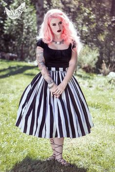 An idea for a skirt to try and copy - Vintage Goth Pinup Capsule Collection- Jenny Gathered Full Skirt in Black and White Stripe