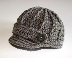 Baby Boy Hat, Baby Hat, Newborn Hat, Crochet Hat, Infant Gray Newsboy Hat, Newborn Boy Clothes Clothing Photo Prop Baseball Cap Hat I Love the newsboy style caps.. this will be a winter baby:) so if it's a boy this would be so cute!