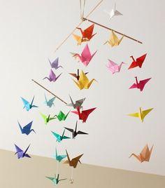 Mobile papier origami grues - j'adore !