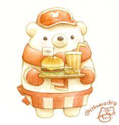 Cute Bear Drawings, Cute Food Drawings, Kawaii Drawings, Kawaii Doodles, Kawaii Art, Cute Kawaii Animals, Kawaii Illustration, Guache, Bear Cartoon