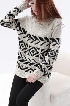 Round Neck Long Sleeve Geometric Pattern Sweater
