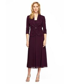 Eggplant:Alex Evenings Jacquard T-Length Jacket Dress