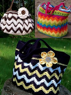 3 Chasing Chevron Bags Crochet Pattern downloads from Annie's Craft Store. Order here: https://www.anniescatalog.com/detail.html?prod_id=127896&cat_id=898