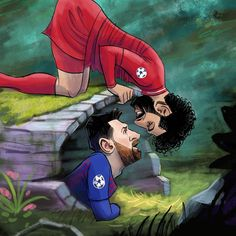 Personal, Disney inspired, drawing of when my 2 favorite clubs, Barcelona & Liverpool faced off in the 2019 Champions League semi-final Anfield Liverpool, Liverpool Football Club, Messi Vs, Lionel Messi, Mohamed Salah Liverpool, Champions League Semi Finals, Face Off, Neymar Jr, Disney Inspired
