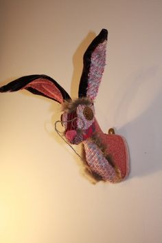 Faux Taxidermy Fabric Hare Trophy Head by FauxDoeCreations on Etsy, £95.00