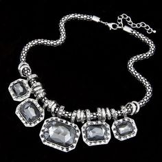 Crystal Adjustable 16 To 20 Necklace New
