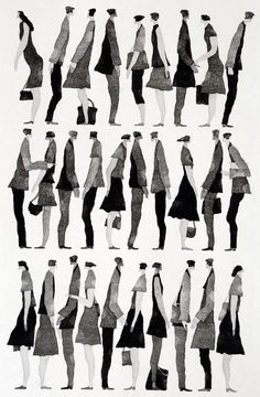Fashion Illustration 行く手 (To the Future) - Tetsuo Aoki Illustration Design Graphique, People Illustration, Illustration Art, Architecture People, Architecture Graphics, Art Postal, People Cutout, Davidson Galleries, Sketches Of People