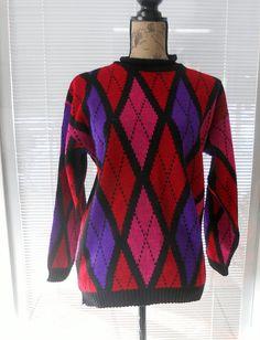 Vintage Argyle Sweater Women's Oversized Hot by LuluandGandore, $22.00