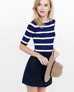 Striped Ribbed Elbow Sleeve Sweater from EXPRESS