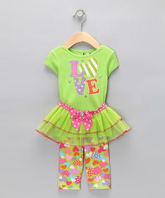 Take a look at this Green 'Love' Tutu Set - Infant & Toddler by Krazy Legs on #zulily today!