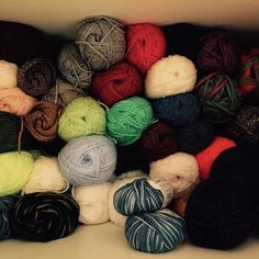Messy stash of wool! Any suggestions for a brand of wool winder?? #help #knitting #knit #knitstagram #stash